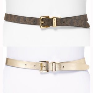 Michael Kors MK Logo Reversible Belt Brown Gold